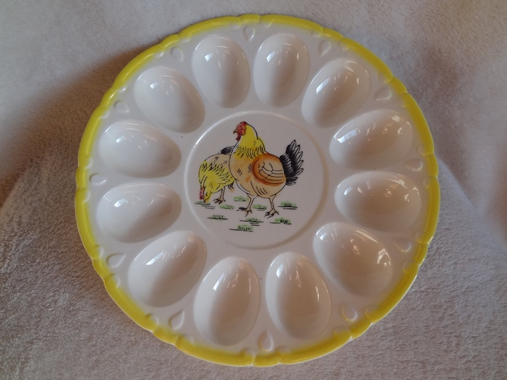 Vintage Yellow Trimmed Deviled Egg Tray