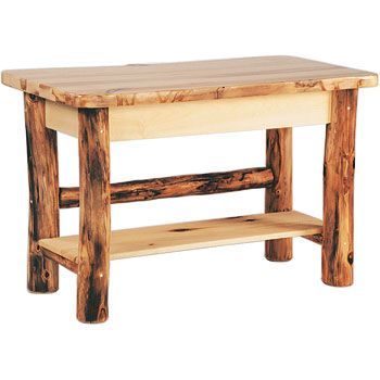 aspen log rustic sofa table