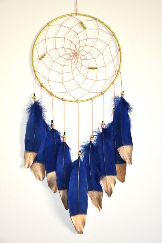 Large Dream Catcher Navy Blue Dream by FeatherDreamcatchers
