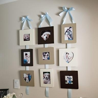 photo display ideas hanging photos with ribbon string and hooks photo displays hanging. Black Bedroom Furniture Sets. Home Design Ideas