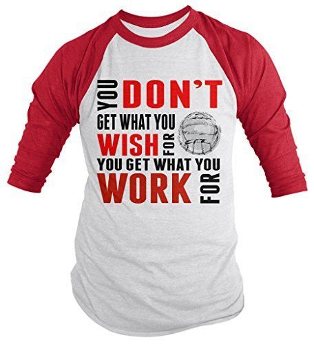 Shirts By Sarah Men's Volleyball Shirt Get What Work For 3/4 Sleeve Raglan Shirts