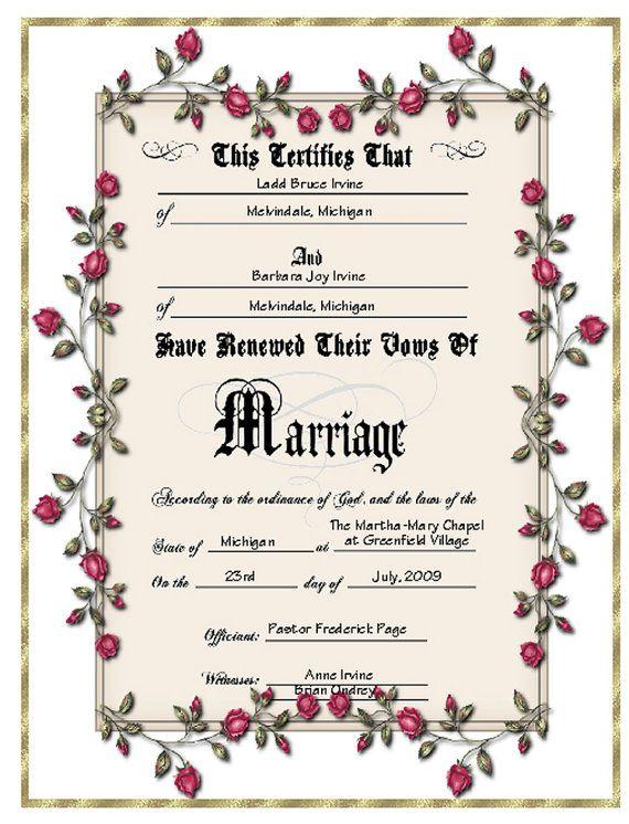 Keepsake Vow Renewal Certificate