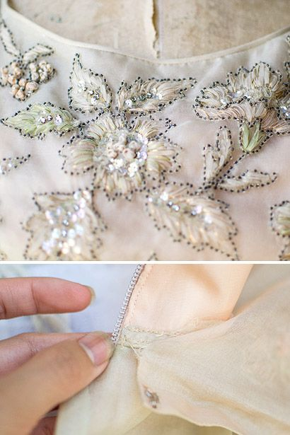 silk ribbon embroidery with sead bead outline .. 50s bodice