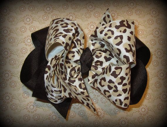 Brown Leopard Cheetah Hair Bow Fabulous Double Layered Boutique Lush with Spikey Edges for Baby Toddler or Little Girl. $6.50, via Etsy.