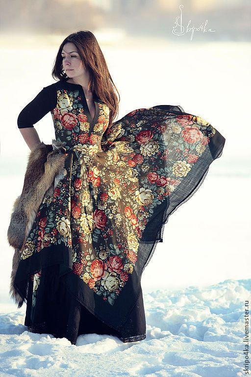 """Купить Платье """"Цветочная сказка"""" - чёрный, цветочный, платье из платков, платье в пол, длинное платье"""