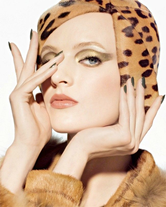 Golden Cat - Daria Strokous wows as the face of Dior's latest cosmetics line named 'Golden Jungle'. The autumn campaign was photographed by Steven Meisel w