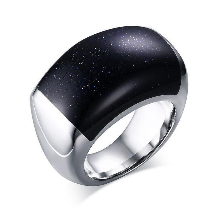 Men's Luxury Blue Gravel Size 6,7,8,9 Stainless Steel Cool Wedding Rings Gift