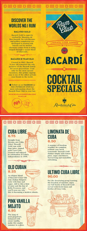 Cuban Rum Club Graphic Design Cocktail Menu. Typography, Illustration & Design by www.diagramdesign.co.uk