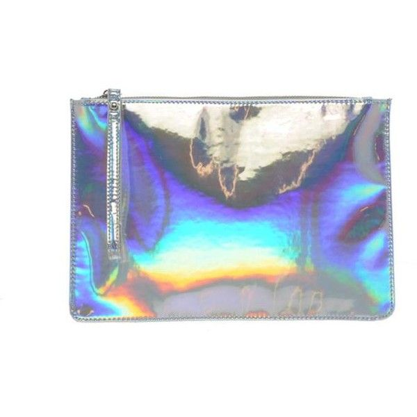 New Look Holographic Clutch Bag (€18) ❤ liked on Polyvore featuring bags, handbags, clutches, holographic, accessories, hologram handbag, holographic handbag, hologram purse and holographic purse