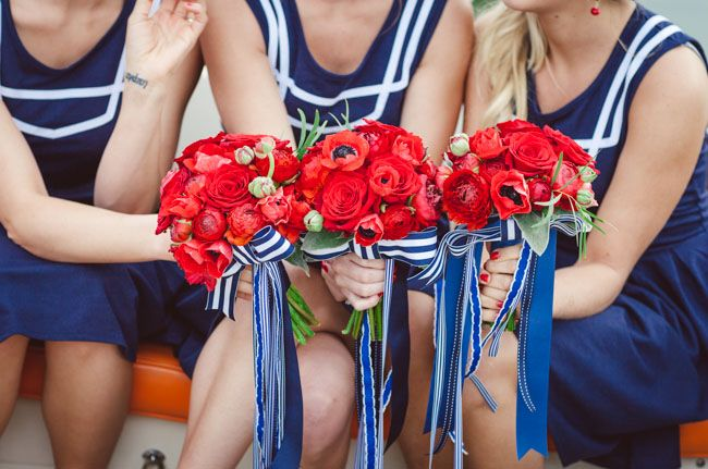 red bridesmaid bouquets #nautical wedding