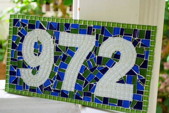 Outdoor Mosaic Address Sign Colorful House Number Plaque Blue And Green Numbers Address