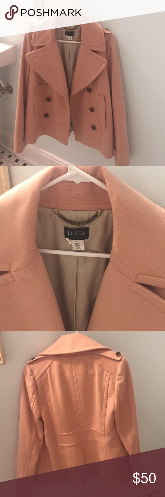 Mint Condition J crew Pea coat Sz 4 Mint Condition J Crew Pea coat size 4. Pink/Peach thick coat with tortoise shell buttons. J. Crew Jackets & Coats Pea Coats
