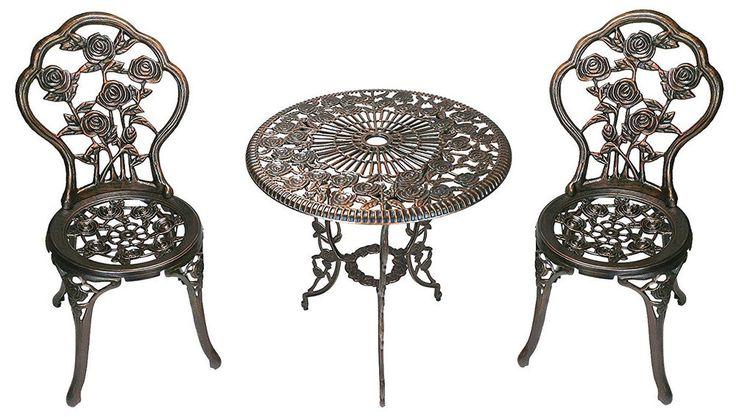Outdoor Patio Bistro Set 3-PC Metal Table Chair Umbrella Opening Antique Bronze #OaklandLiving