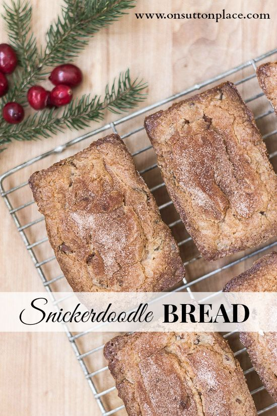 Moist and yummy Snickerdoodle Bread (cake) gets added flavor from Hershey's cinnamon chips | On Sutton Place