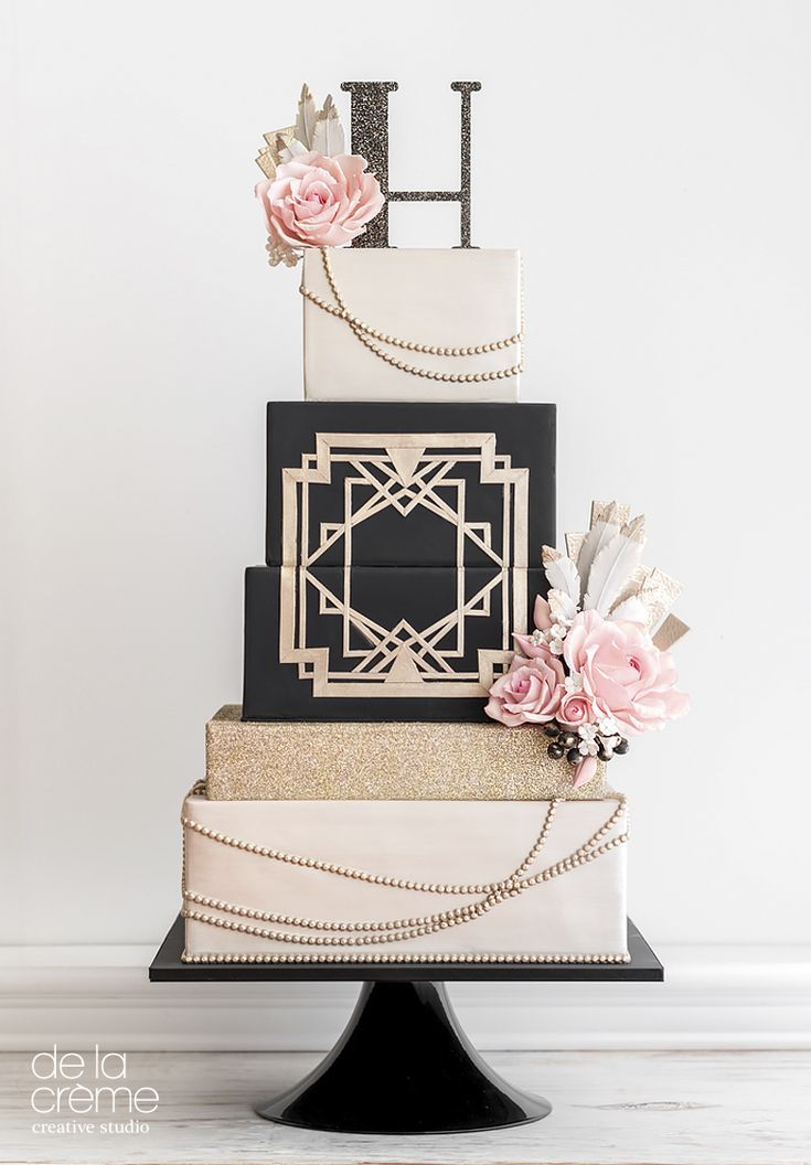 Gatsby-inspired square tiered Art Deco wedding cake