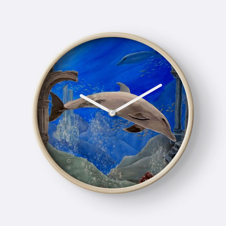 Wall Clock, artistic,decorative,items,dolphin,aqua,blue,grey,wildlife,ocean,modern,beautiful,awesome,cool,home,office,wall,decor,decoration,gifts,presents,ideas,for sale,redbubble