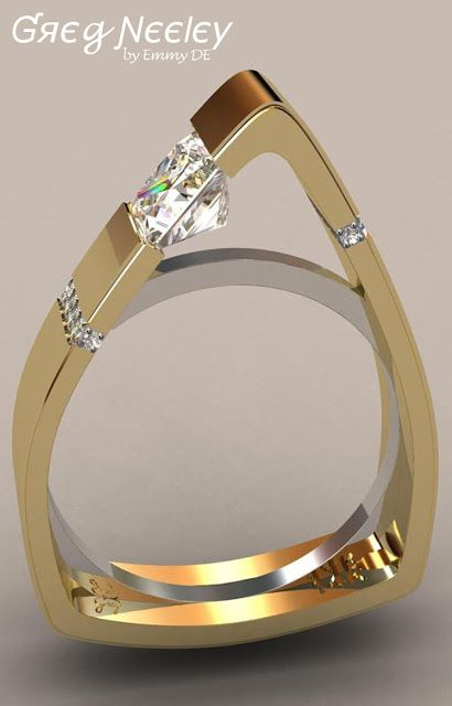 Brilliant Luxury by Emmy DE * Greg Neeley North Face Princess Engagement Set.  Designer Jewellery