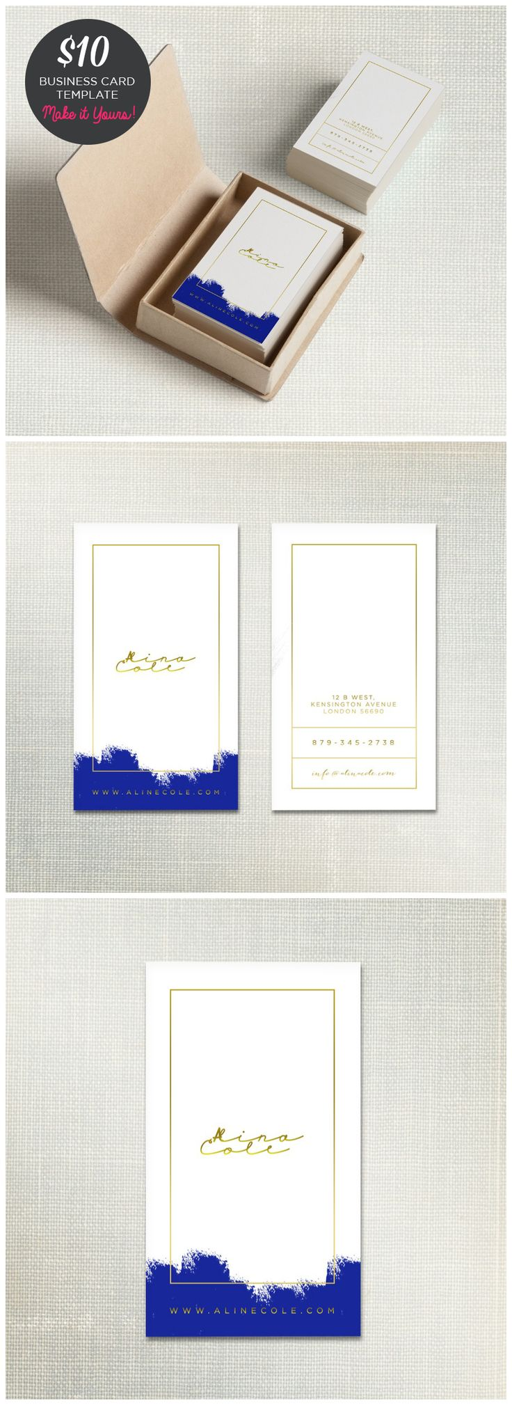 Elegant painted business card template - Make it yours! #businesscards