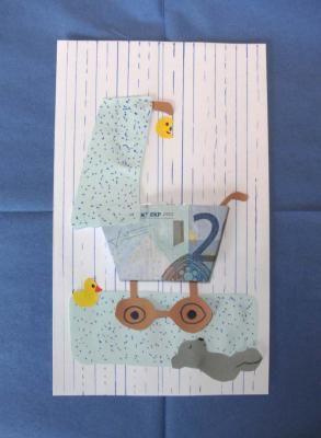 Geldgeschenke zur Geburt basteln: Glückwunschkarte