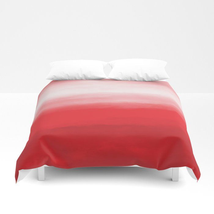 Red Sunset Watercolor Ombre Duvet Cover Red Pink And White Ombre Bedding Available In Twin Twin Xl Full Qu Red Bedroom Decor Red Duvet Cover Ombre Bedding