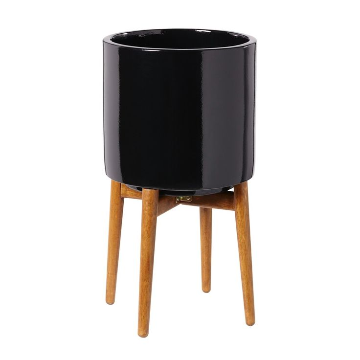 Cache-pot en céramique noire H43   Maisons du Monde