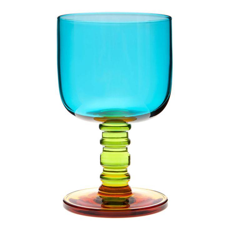 Sukat Makkaralla Turquoise/Green/Yellow Wine Glass from Marimekko