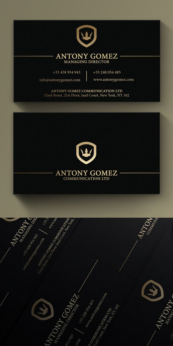 Simple Gold And Black Business Card #businesscard #branding #psdtemplates…