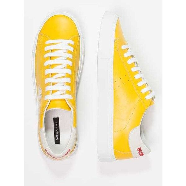 Patrizia Pepe Trainers shiny yellow (10.505 RUB) ❤ liked on Polyvore featuring shoes, sneakers, yellow trainers, yellow shoes, yellow sneakers, shiny shoes and glossy shoes