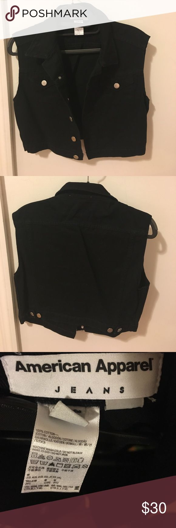 American apparel black denim vest Black denim vest.. in perfect condition...super cute with jean shorts or over a dress! Perfect for layering! American Apparel Jackets & Coats Jean Jackets
