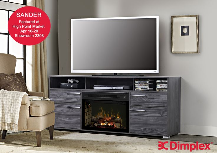 """NEW """"Sander entertainment solution"""" and so much more... Simplicity is the hallmark of the Sander's strong design. Metal feet accentuate the Carbon Grey finish.  Open upper storage allows ample room for electronics and a pedestal for even the largest televisions. Make sure to see our new line-up of electric fireplace media consoles, including Sander, at High Point Market #HPMKT  