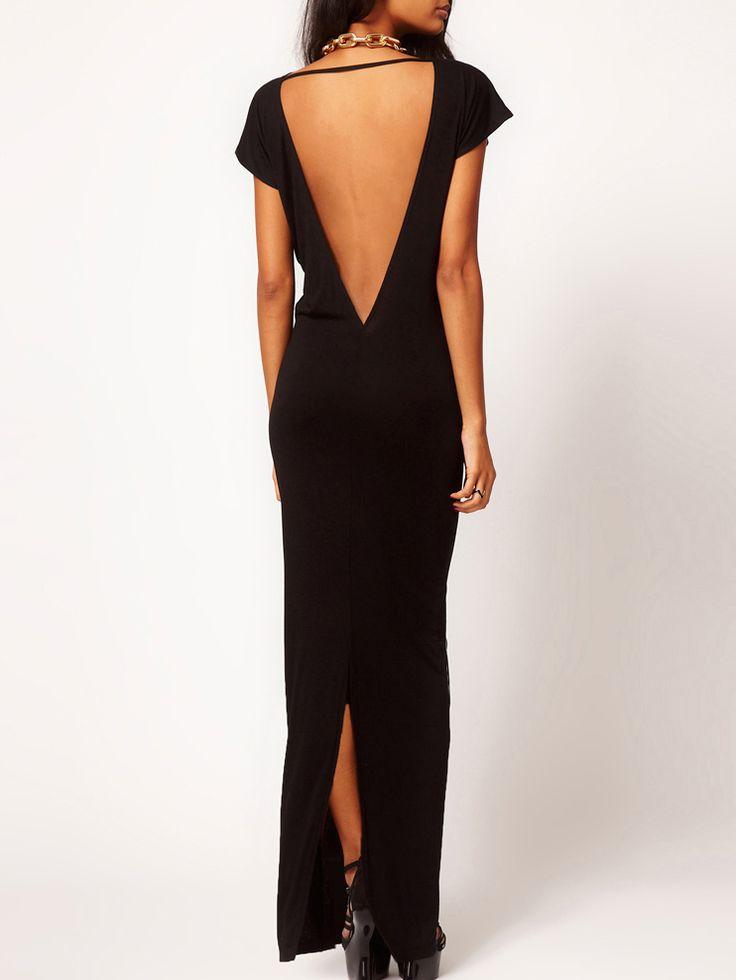 Robe longue dos dénudé manches courtes -noir 11.37