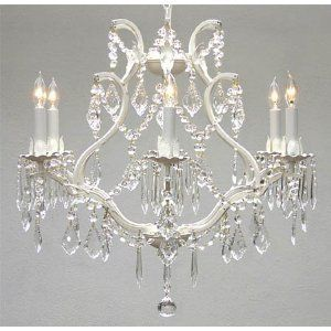 WHITE WROUGHT IRON CRYSTAL CHANDELIER LIGHTING *FREE SHIPPING!* H 19