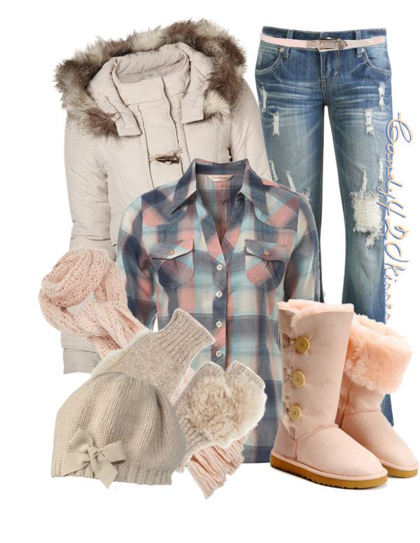 Adorable!! Fur boots, plaid shirt, scarf and hat for cold days and a big coat with super cute jeans :)