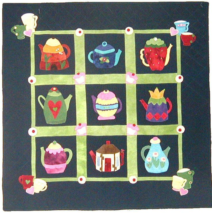 Teapots Quilt Pattern 40 X 40 Quot At Out Of Hand A