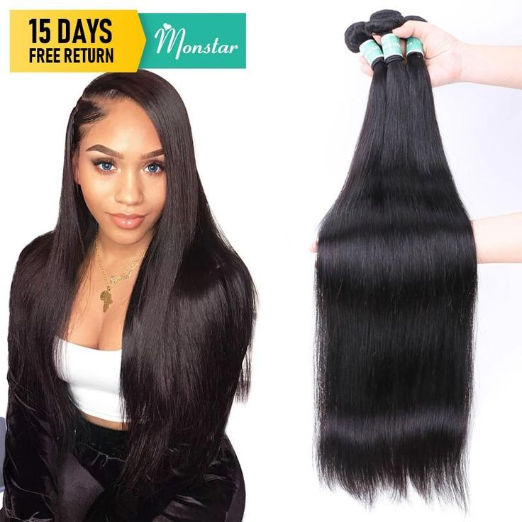 Monstar 1/3/4 Remy Brazilian Straight Hair Bundles Natural Human Ha…