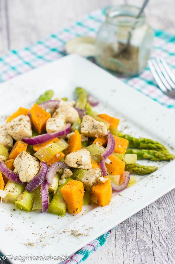 Pan fried tilapia with boil asparagus