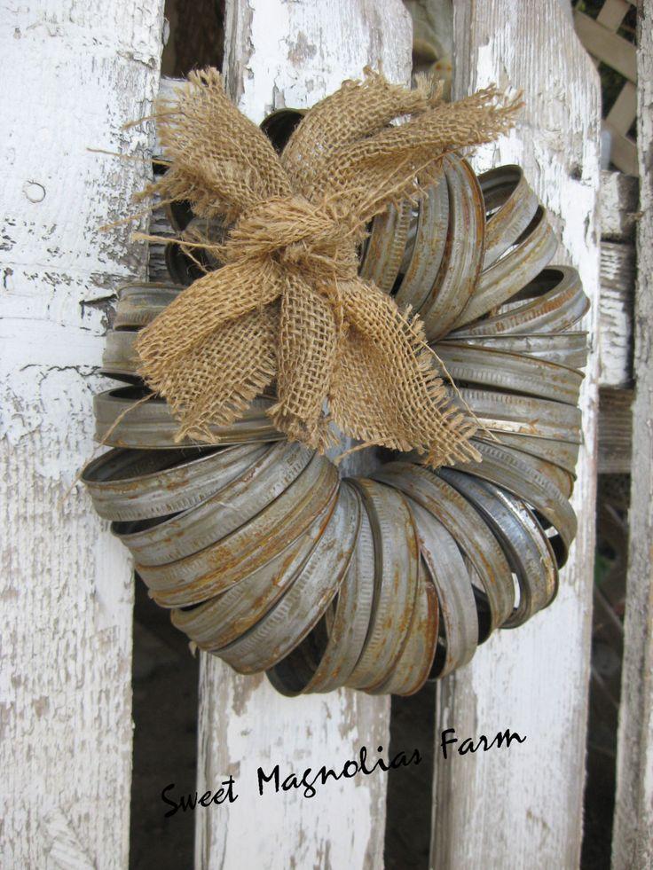 Wreath - Canning Jar Lids - Rustic Farmhouse Style - Garden or Door Decor - by: Sweet Magnolias Farm