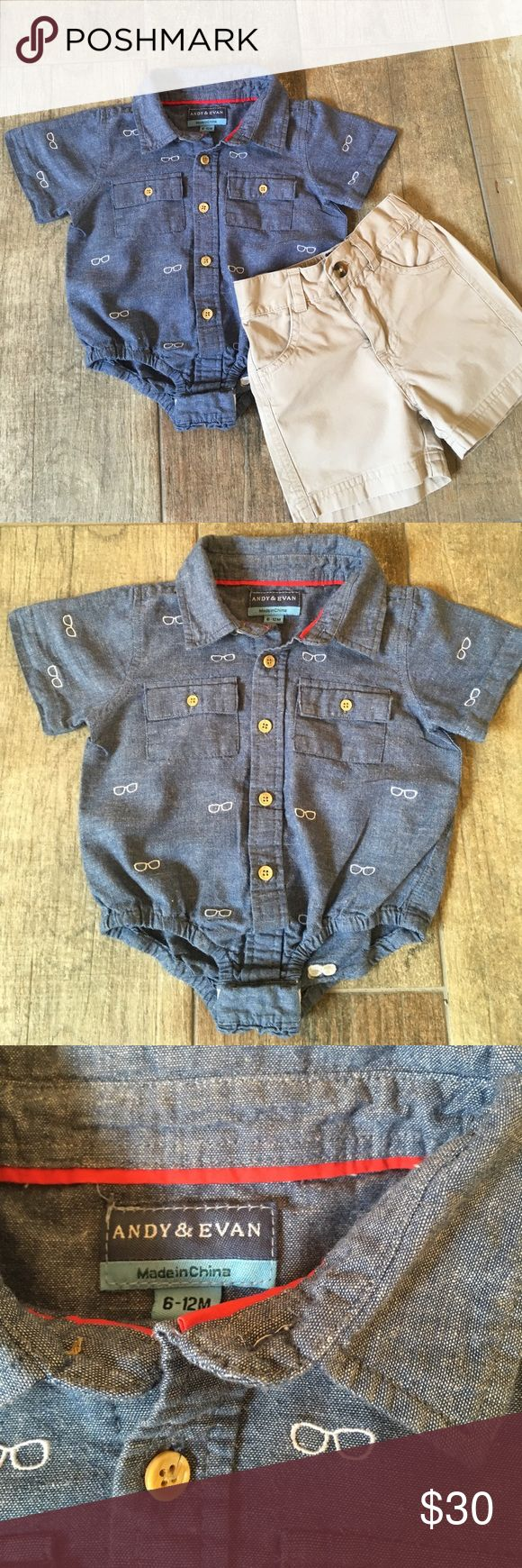 Andy & Evan Chambray & Khaki Outfit Outfit includes an amazing Chambray Button Down bodysuit with Embroidered sunglasses and khaki shorts with zipper and Button at waist. This outfit is amazing quality as all of Andy & Evan clothing. In perfect condition. Both size 6 - 12 months. Andy & Evan Matching Sets
