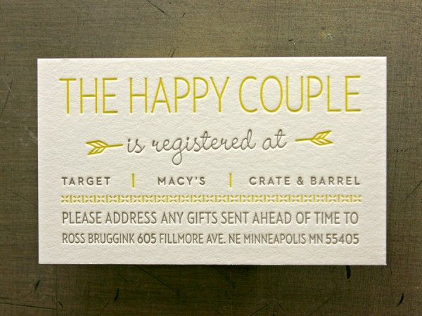 Love the style & also that this card would be included in an invite.  Hate that you even hate to tell people, though, to send gifts to the home (& not bring to the wedding itself which people should know better than to do).
