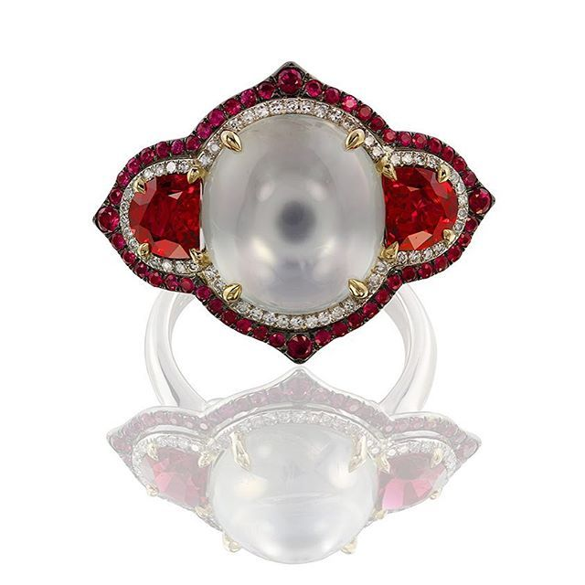 Red spinel, ruby, white moonstone & diamonds ~ Ivy New York ~ www.ivynewyork.com.