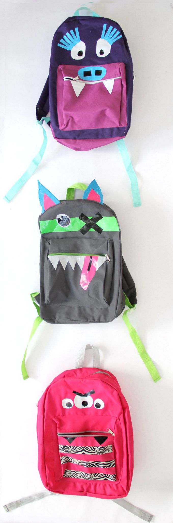 Trick out your kid's backpack with Duct tape and scissors! Duck Tape Monster Backpack Craft DIY From Joann Fabrics