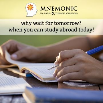 Mnemonic Education is one of the reputed Education Consultants in India. It has an expertise of 7+ years in the foreign education sector, career counseling, career assessment and students profile building.