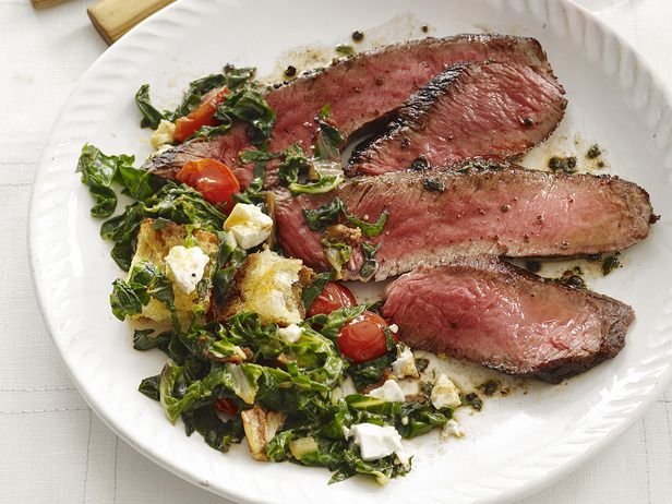 Seared steak with chard salad