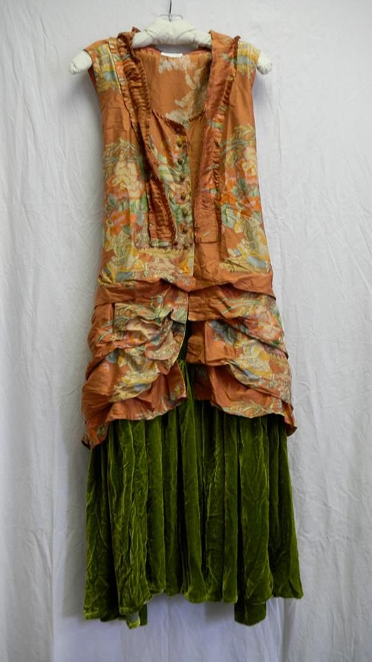 Pea Green silk velvet skirt with mango vest by Krista Larsen from Kati Koos
