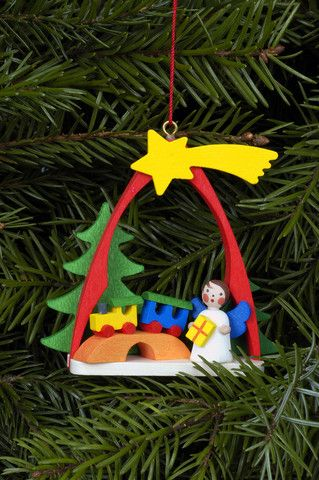 Angel under a shooting star ornament