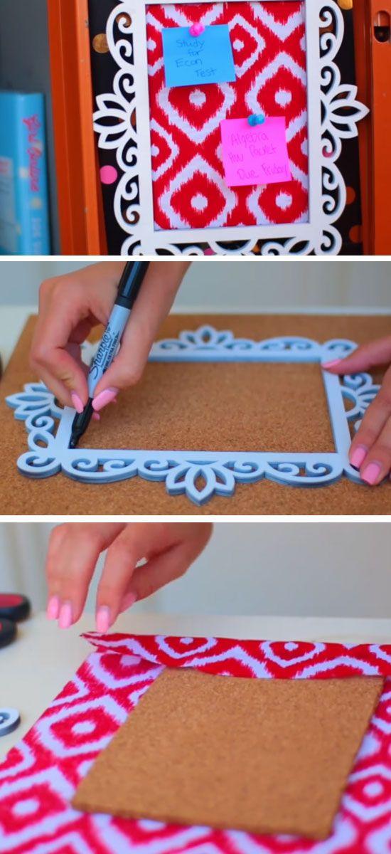 Fabric Frame | 15 DIY Locker Organization for School Girls