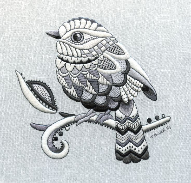 Fabulous! Zentangle Bird whitework embroidery stitched by Trish Burr