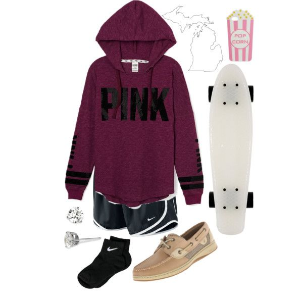 SK8 by earth-mother on Polyvore featuring polyvore, fashion, style, Victoria's Secret PINK, NIKE, Sperry Top-Sider, Nordstrom and Skinnydip