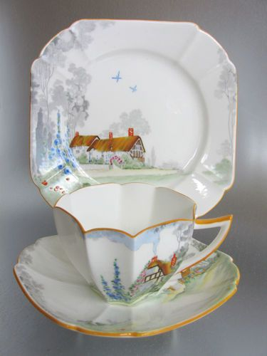 Shelley China Art Deco Tea Cup Trio Queen Anne 11621 Cottage 2 Design Set 2 | eBay sold for $98.75