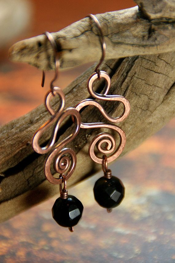 Hammered Copper Snake Coils with Obsidian by AllowingArtDesigns, $24.00